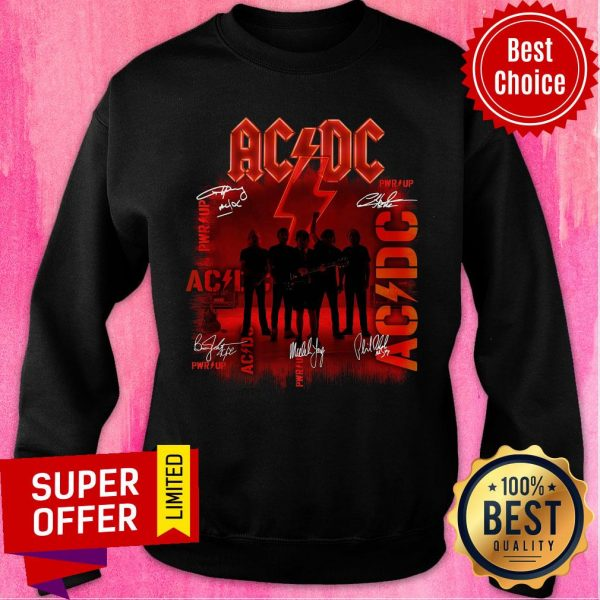 Premium ACDC Rock Band Power Up Album Signatures Sweatshirt