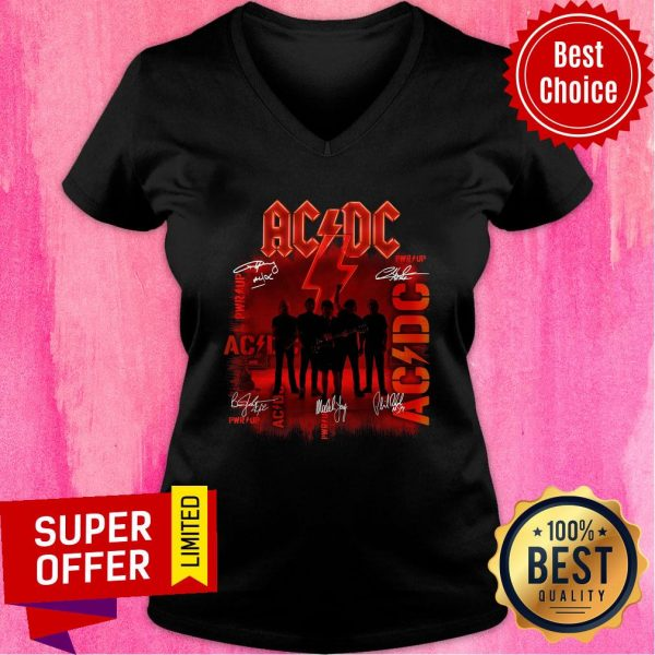 Premium ACDC Rock Band Power Up Album Signatures V-neck