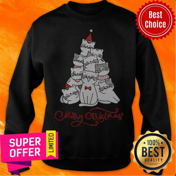 Premium Cats Merry Christmas Tree Sweatshirt