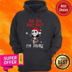 Premium Jack Skellington Ho Ho Holy Shit I'm Drunk Beer Christmas Hoodie