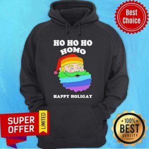 Top LGBT Santa Ho Ho Ho Homo Happy Holigay Hoodie