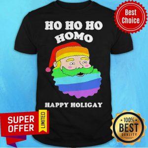 Top LGBT Santa Ho Ho Ho Homo Happy Holigay Shirt