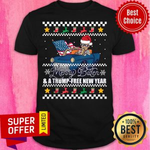 Top Merry Biden And A Trump Free New Year Ugly Christmas Shirt