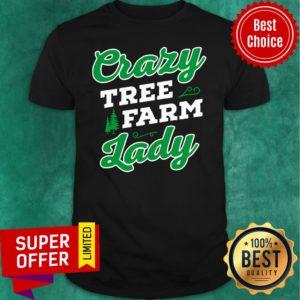 Awesome Crazy Tree Farm Lady Christmas Tree Merry Xmas Shirt
