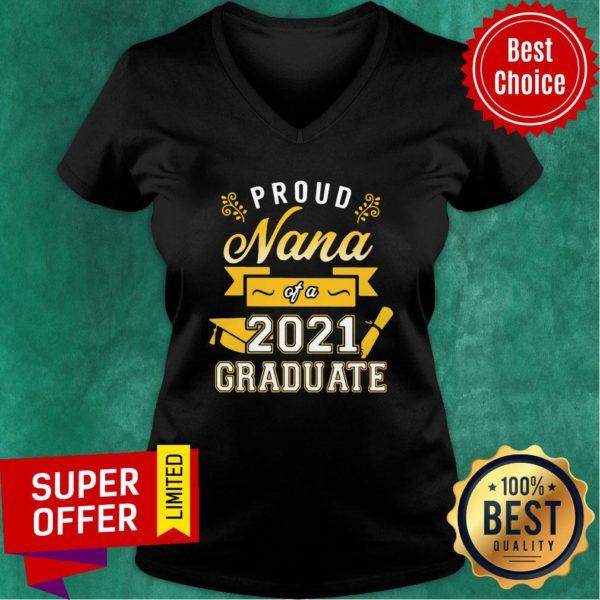 Official Proud Nana of a 2021 Graduate Gold V-neck