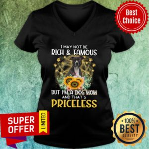 Pitbull I May Not Be Rich And Famous But I'm A Dog Mom And That's Priceless V-neck