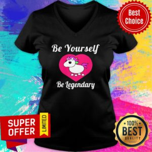 Unicorn Adopt Me Be Yourself Be Legendary Positive Message Red V-neck