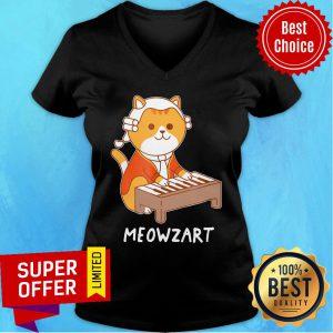 Awesome Meowzart Cat Play Piano V-neck