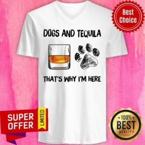 Awesome Scotch And Dog That's Why I'm Here V-neck