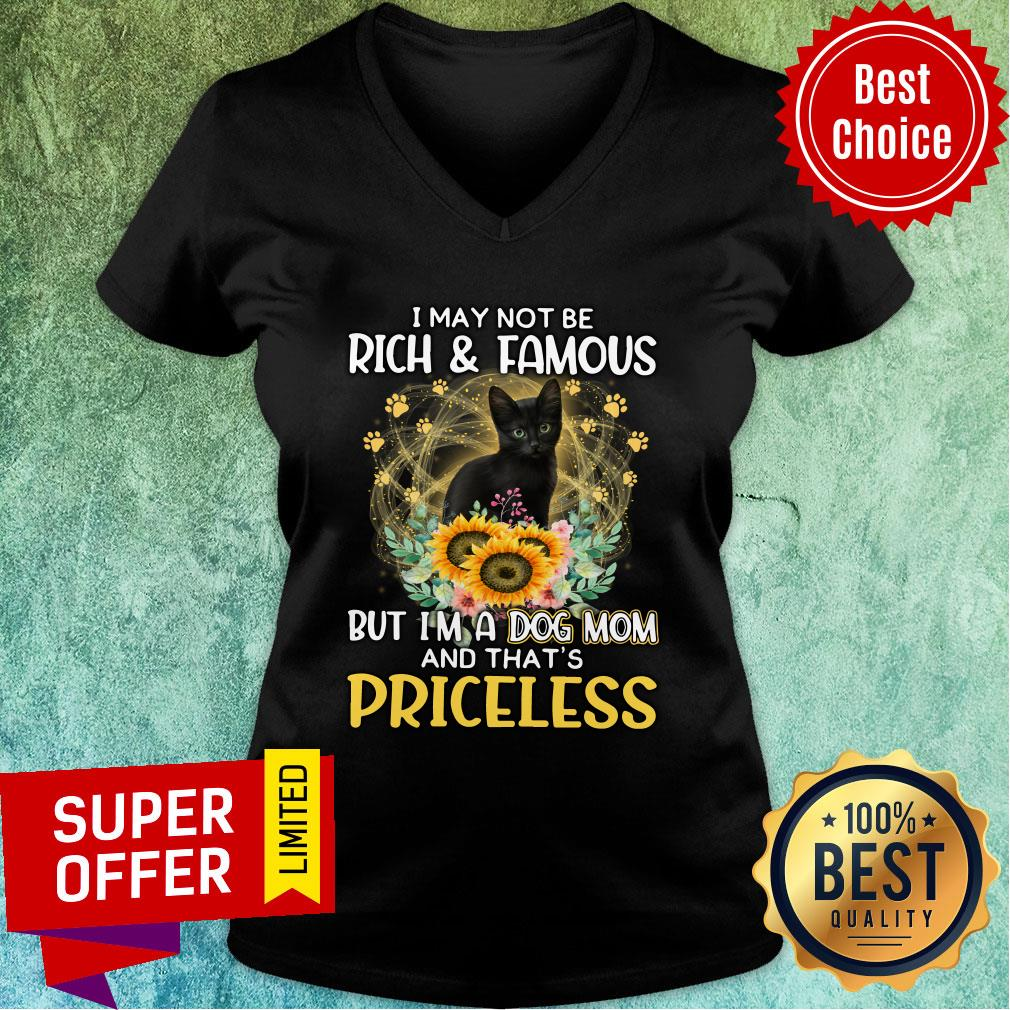 Black Cat Not Maybe Rich & Famous But A Cat Mom And That's Priceless V-neck