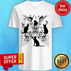 Funny Cute Cat Kitty Playing Music V-neck
