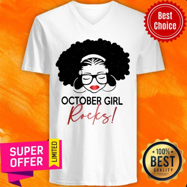 Nice October Girl Rocks V-neck