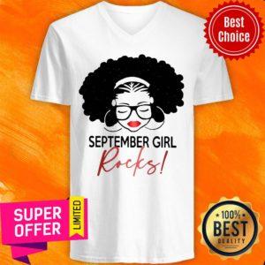 Premium September Girl Rocks V-neck