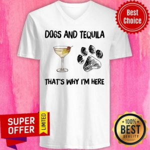 Top Martini And Dog That's Why I'm Here V-neck