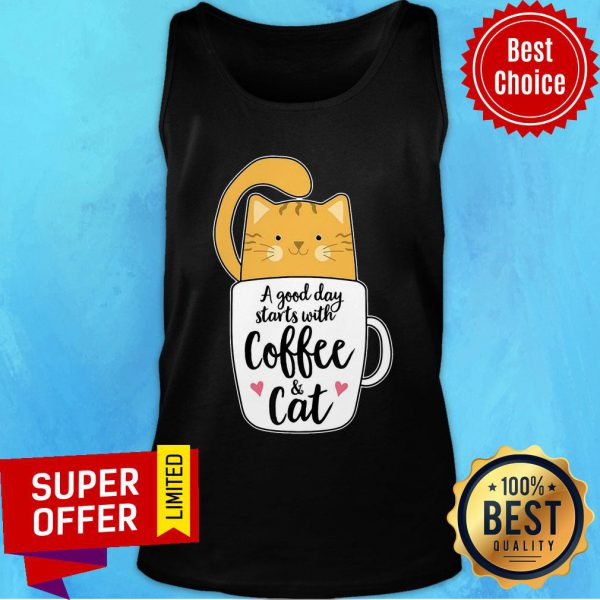 A Good Day Starts With Coffee Cat Tank Top