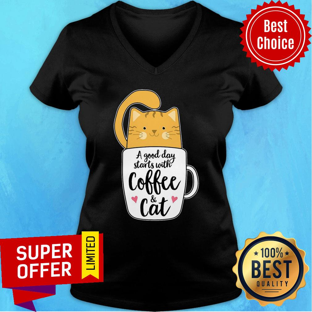 A Good Day Starts With Coffee Cat V-neck
