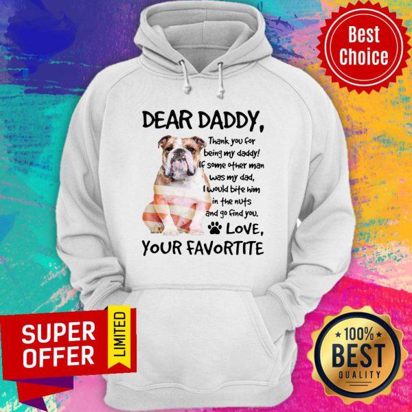 American Flag English Bulldog Dear Daddy Love Favortite Hoodie