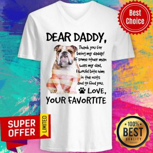 American Flag English Bulldog Dear Daddy Love Favortite V-neck