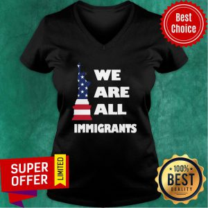 American Flag We Are All Immigrants Statue Of Liberty V-neck