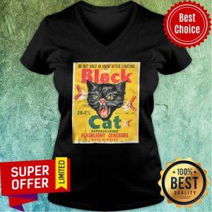 Black Cat Flashlight Cracker Made In Macau V-neck
