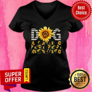 Funny Sunflower Dog Mom V-neck