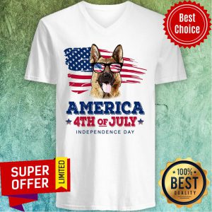 German Shepherd American Independence Day July 4th V-neck