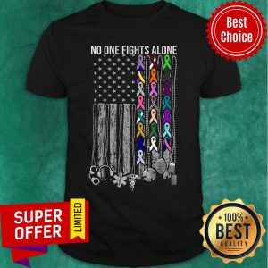 No One Fights Alone Cancer Awareness American Flag Shirt