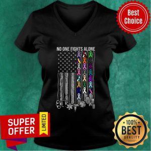 No One Fights Alone Cancer Awareness American Flag V-neck