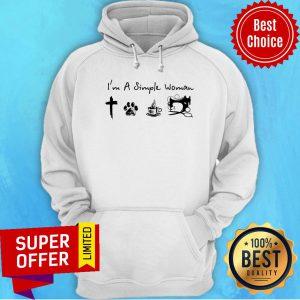 Simple Woman Jesus Dog Coffee Sewing Hoodie