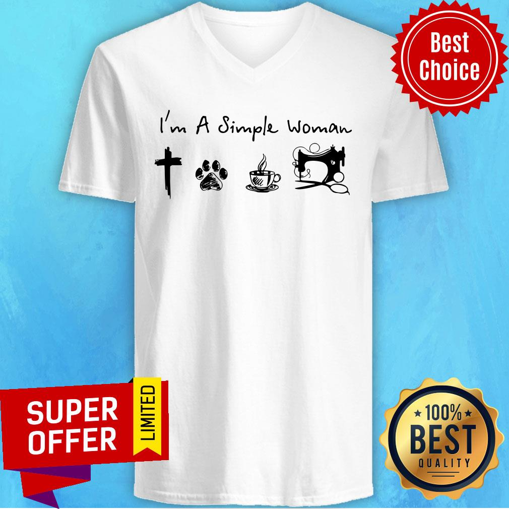 Simple Woman Jesus Dog Coffee Sewing V-neck