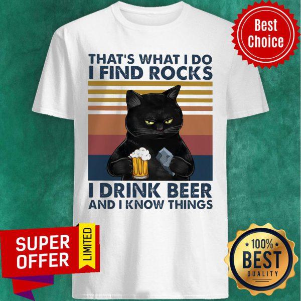 Black Cat Geology Find Rock Beer Shirt