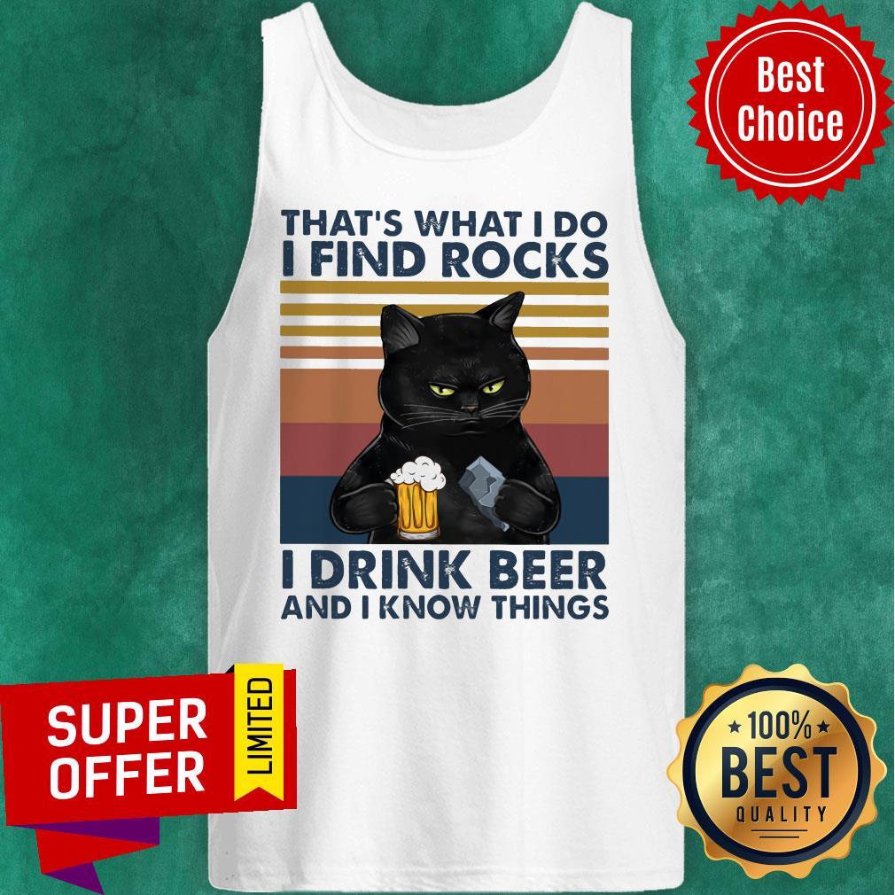 Black Cat Geology Find Rock Beer Tank Top