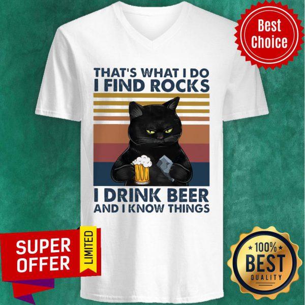 Black Cat Geology Find Rock Beer V-neck