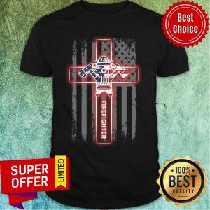 Firefighter Cross American Flag Shirt
