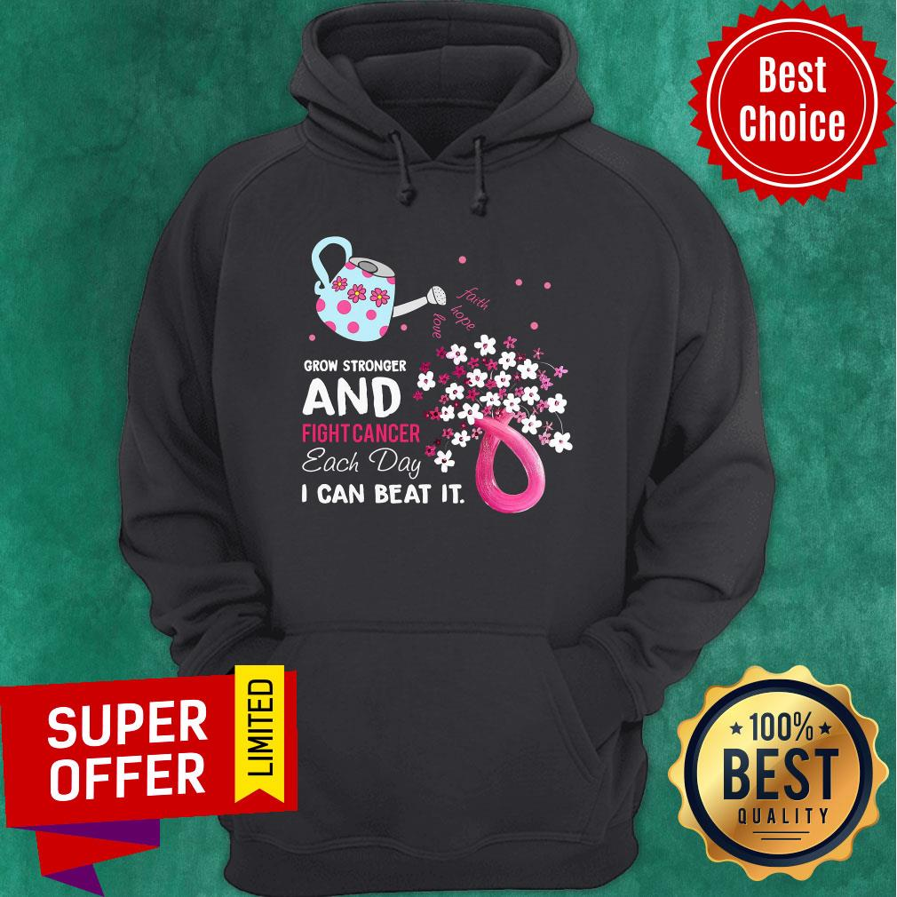 Pink Grow Stronger And Fight Cancer Each Day Beat Hoodie