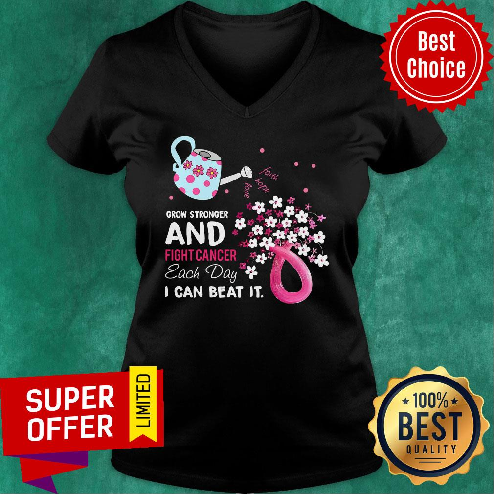 Pink Grow Stronger And Fight Cancer Each Day Beat V-neck