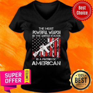 The Most Powerful Weapon Patriotic American Flag V-neck
