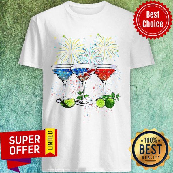 Wine Cocktail Margarita American Flag Shirt