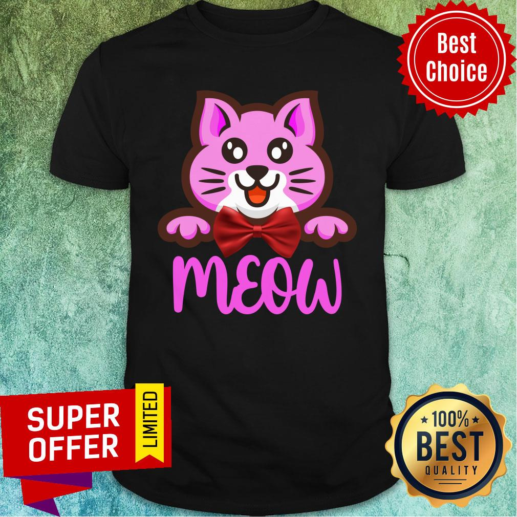Cute Cat Meow Bow Shirt