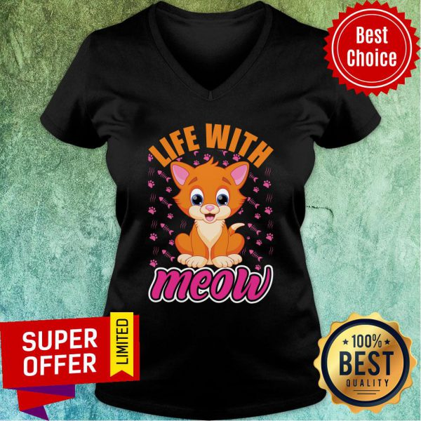 Life With Love Meow Cute Cat Fish Bone V-neck