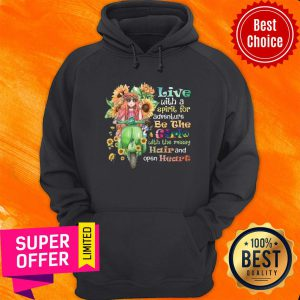 Sunflower Live With Spirit For Adventure Girl With Messy Hair Open Heart Hoodie