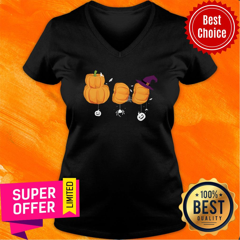 Boo Halloween Costume Ghost Pumpkin Witch  V-neck