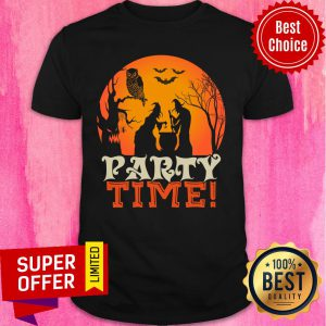 Witch Party Time Owl Bat Halloween Shirt