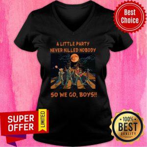 Abbey Road A Little Party Never So We Go Boys Halloween Horror V-neck
