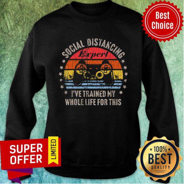 Social Distancing Expert Video Gamer Gaming Vintage Sweatshirt